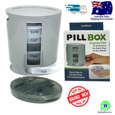 AU15.03 • Buy PILL BOX 7 Days Weekly Medicine Organizer Dispenser Compact Case 4 Compartments