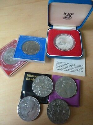 Joblot 7 Coins Inc 1977 Boxed Royal Mint Silver Jubilee Silver Proof & Churchill • 9.99£