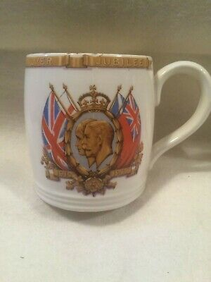 British Pottery King George V Queen Mary Silver Jubilee Mug Cup 1910-1935 MYOTT • 4.99£