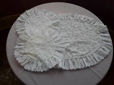 £4.99 • Buy BRAND NEW - SET OF 3 DRESSING TABLE MATS - White Lace & White Lace Edging