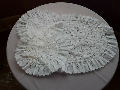 BRAND NEW - SET OF 3 DRESSING TABLE MATS - White Lace & White Lace Edging • 4.99£