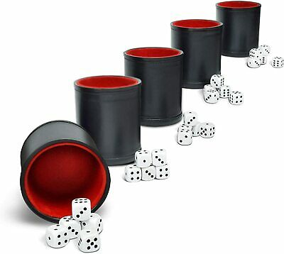 £16.99 • Buy Professional Dice Shaker Cup - 5x Felt-Lined PU Leather Black Cups & 25 Dice NEW