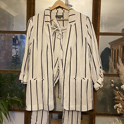 Linen Blend White Stripe Co-Ord Suit. Jacket & Belted Peg Trousers. UK Size 12. • 7£