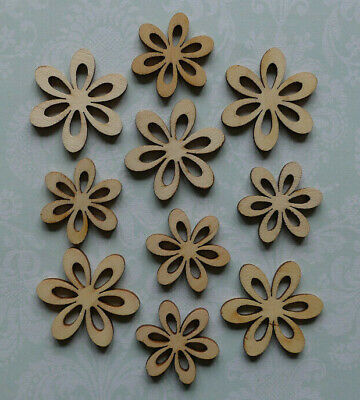 £2.05 • Buy New 10 Natural Wooden Flower Card Topper Craft Embellishment Decoration