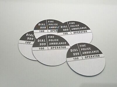 £1 • Buy 5 X GPO 746 GREY/WHITE ROTARY TELEPHONE DIAL NUMBER CARD INSERTS