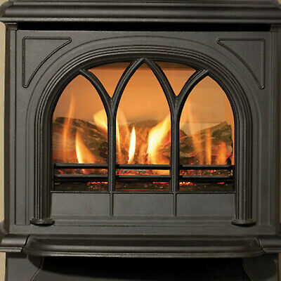 Gazco Huntingdon 30 Gas Fire, Matt Black With Log Fire Effect, 3 Year Warranty • 800£