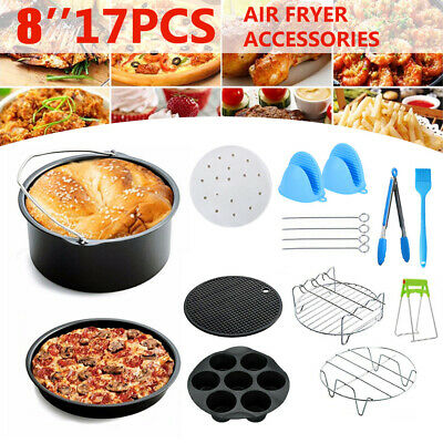 AU32.86 • Buy ❤️17PCS/8in Air Fryer Accessories Tray Pizza Cage Dish Pan Rack For Philips