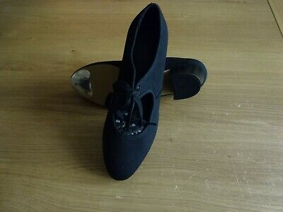 New - Black Canvas Cuban Heel Tap Dance Shoes Toe Taps Only Girls Uk Size 2.5 • 7.99£