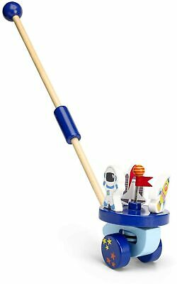 Mousehouse Gifts Space Rocket Push Along Wooden Toy For Baby Or Toddler • 31.83£