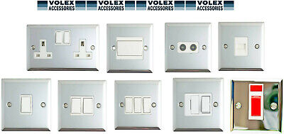 Volex Polished Chrome 1G/2G/Spur Fused Light Switch Double Socket White Inserts • 6.99£