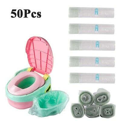 50Pcs Disposable Travel Potty Kids Liners Portable Training Toilet Seat Bin Bags • 5.98£