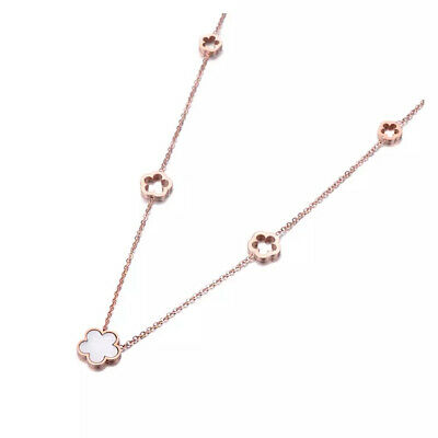 Gold Plated Clover Necklace On Rose Gold Stainless Steel Crystal Chain Jewellery • 7.95£