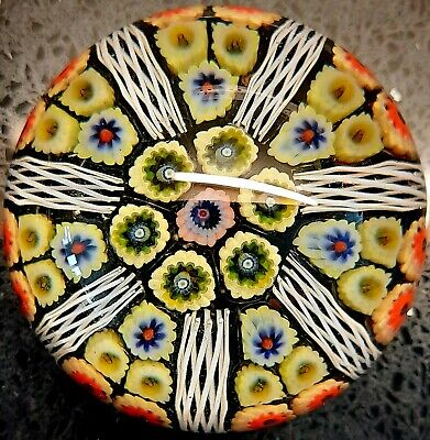 Strathearn Glass Millefiori Latticino 7 Spoke Spiral Cane Wheel Paperweight Vgc • 65£