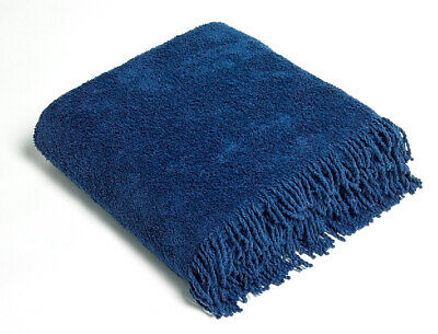 NAVY BLUE Traditional 100% Pure Cotton Thick Luxury Chenille Fringed Tablecloth • 34.95£