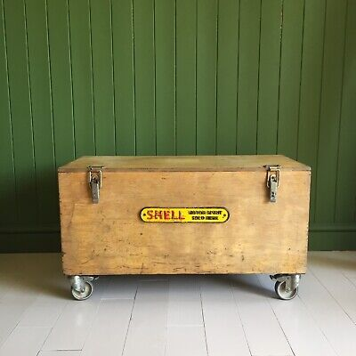 VINTAGE Industrial CHEST Coffee Table MID CENTURY Wooden Storage TRUNK + Castors • 125£