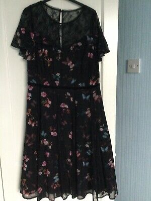 Beautiful Monsoon Black Floral Dress With Lace Inserts - Size 16 - New With Tags • 15£