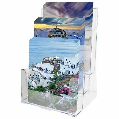 Literature Holder A4 - 3 Tier Clear Acrylic Brochure Display Stand Rack - H32... • 39.16£