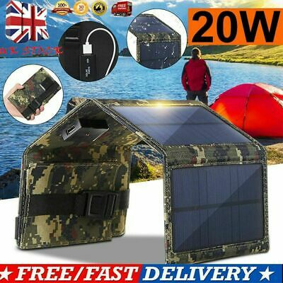 20W USB Solar Panel Fold Power Bank Outdoor Camping Hike Battery Charger UK • 14.72£