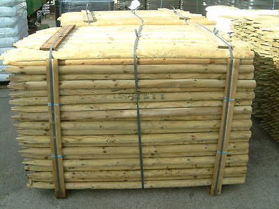 5 X 2.1m (7ft) X 50mm ROUND & POINTED PRESSURE TREATED FENCE POST / TREE STAKE • 27.95£