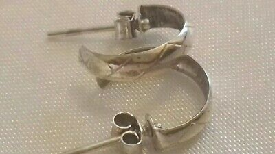 Vintage 925 Sterling Silver Small Half Hoop Earrings • 9.99£