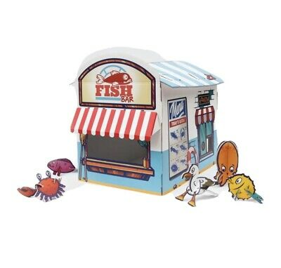 Cat Kiosk Play House Carboard Toy Chip Shop • 11.90£