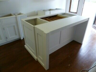 Painted Kitchen Island Unit With Breakfast Bar Cabinet Handmade • 1,400£