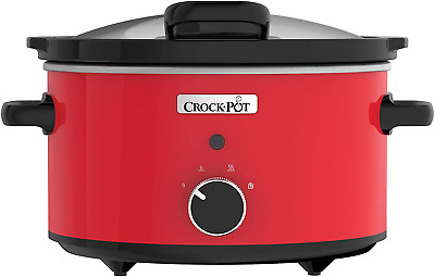 Crock Pot CSC037 Slow Cooker With Hinged Lid, 3.5 Litre, Red, Plastic, 3.5 • 32.12£