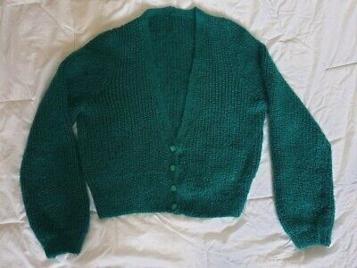 Emerald Mohair Cardigan, Hand-knitted, Size Up To 18 • 4.20£