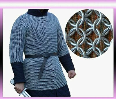 £57 • Buy Aluminium Chainmail Shirt BUTTED ALUMINUM CHAIN MAIL HAUBERGEON MEDIEVAL Armour