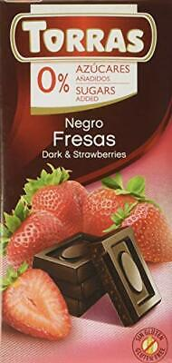 Torras No Added Sugar Dark Chocolate Bar With Strawberry 75 G • 2.27£