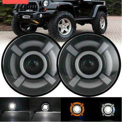 $89.95 • Buy Pair LED 7'' Headlights Motorcycle Driving Light Brightness Two-color Angel Eyes