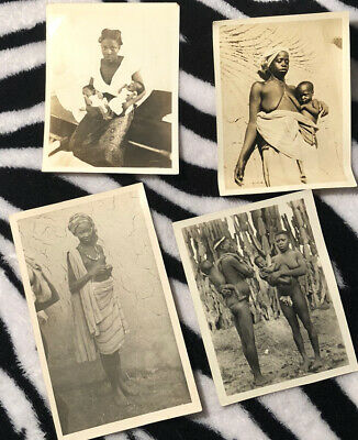 $9 • Buy 4 Antique Topless Photographs Kenyan Mothers And Babies WW2 Period Post Card