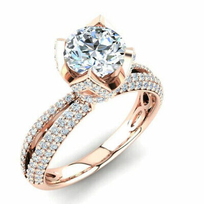 AU1503.68 • Buy Diamond Moissanite Engagement Ring Round Cut Solitaire 3.00 Ct 14K Rose Gold