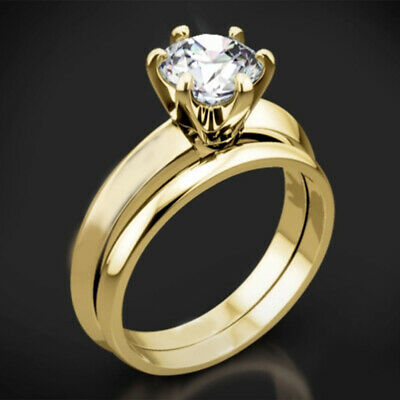 AU899.89 • Buy Round Solitaire Diamond Engagement Band Ring 14K Yellow Gold 2.00 Ct Wedding