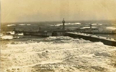 £8 • Buy Real Photo Postcard Of The Piers & New Extensions Whitby North Yorkshire By Ross