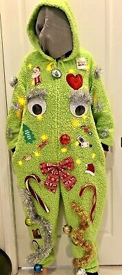 $29.95 • Buy Grinch Ugly Christmas Sweater Suit Winner! Lights Hood Furry XL NEW Furry
