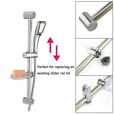 Chrome Bathroom Shower Riser Rail Bracket Shower Head Holder Bar Kit Adjustable. • 5.99£