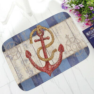 Nautical Anchor Hope Striped Waves Flannel Home Decor Area Rug Carpet Floor Mat • 9.99£
