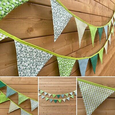 £9 • Buy Green Bunting💚Floral Stripe Polka Shabby Chic Traditional Vintage Fabric 3m💚