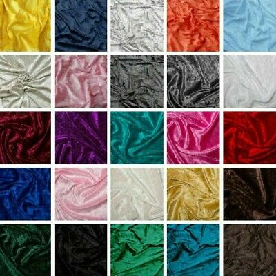 £0.99 • Buy Crushed Velvet Fabric Dress Craft Stretch Velour Material 150cm Wide