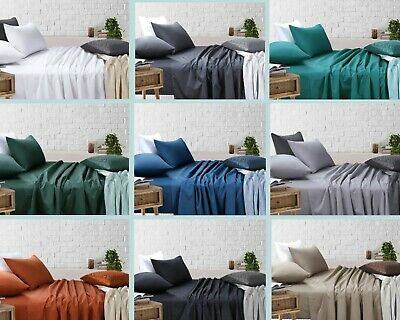AU40 • Buy King Single/Double/Queen/King Bed Sheet Sets (Flat, Fitted, Pillowcases)