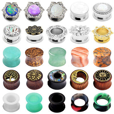 $4.99 • Buy Pair Stainless Steel & Stone & Silicone & Wood Tunnels Ear Plugs Gauges Expander