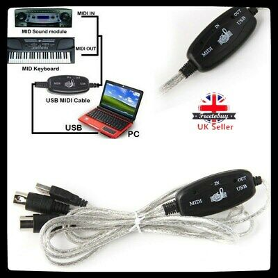 USB To MIDI Interface Converter Cable Adapter Music Keyboard Piano To PC Laptop • 5.74£