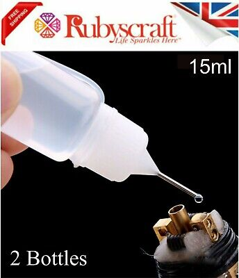 2pc Empty 15ml Bottle Precision/Needle Tip -Ideal For Filling GEMTAC Or Glue • 2.75£