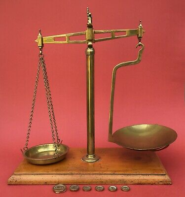 Antique Brass Sweet Shop Scales - G. STORY Chelmsford   • 135£