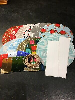 12 Xmas Fabric Jam Jar Covers With Sticky Labels, Elastic Bands And Gift Tags • 3.50£