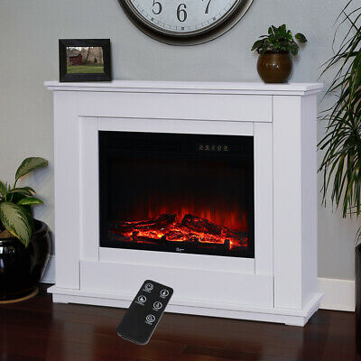 Free Standing Electric Fireplace LED Log Fire Burning Flame Heater With Remote • 107.94£