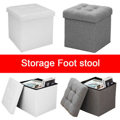 Folding Ottoman Storage Box Pouffe Seat Stool Home Chair Footstool Storage-Bench • 11.59£