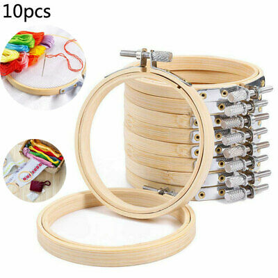 10x Wooden Cross Stitch Machine Embroidery Hoops Ring Bamboo Sewing Tool 10cm/4  • 10.65£