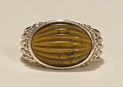 $ CDN42.34 • Buy WHITNEY KELLY Signed WK Sterling Silver Ribbed Tiger's Eye Cabochon Ring Sz 7